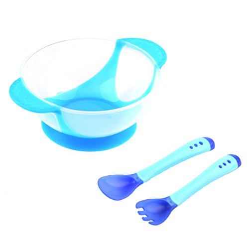 Set de cuenco con tenedor y cuchara para bebé, cuchara con detección de temperatura, cuenco con ventosa, vajilla antideslizante