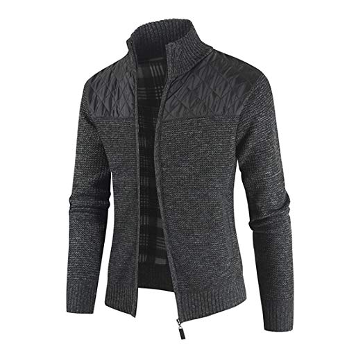 Zytyeu Jacke Herren Slim Fit Strickjacke Reißverschluss Tops Stehkragen Business Office Jacke Alltags Freizeitjacke Futter Plus Samt Mode Temperament Herren Jacke C-Gray L