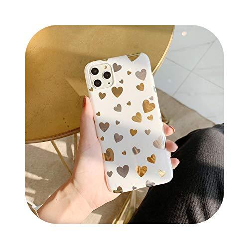 Carcasa de lujo de cromo con forma de corazón para iPhone 12 Pro Max 11 XR 7 8 Plus de silicona con purpurina chapada en oro para iPhone SE 2020 XS X Fundas-corazón dorado para iPhone 11
