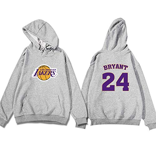 Dray NBA Los Angeles Lakers Nr. 24 Kobe Bryant Hoodie, Basketball-Trainingsjacke (dünner Stil) (Color : Hemp ash, Size : XXXL)