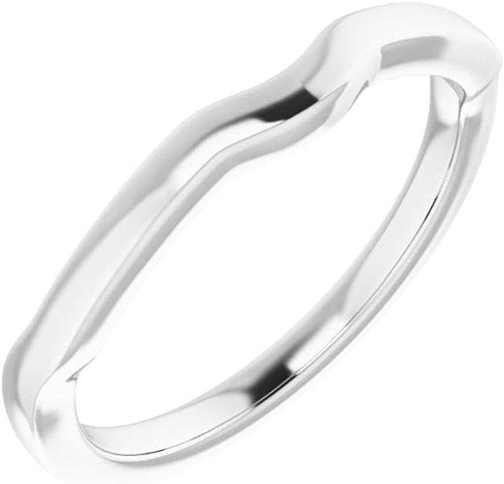 Solid 18K White Gold Curved Notched Wedding Band for 6mm Cushion Ring Guard Enhancer - Size 7