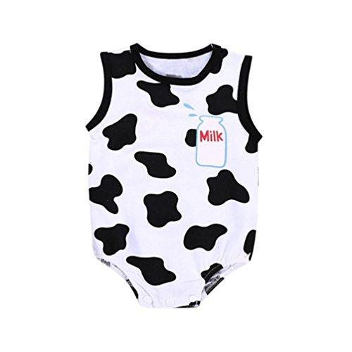 Lazzboy Kleinkind Baby Kinderjungen Mädchen Spielanzug Kühe Brief Drucken Kurzarm Ärmellose Overall Outfits(Weiß,12M)