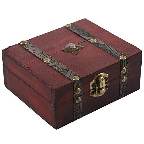 Timagebreze Caja de Almacenamiento de Joyas con Cofre del Tesoro Vintage con Cerradura de Madera, Caja, Organizador, Anillo, Regalo
