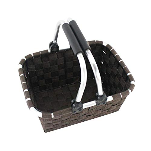 QUUY gevlochten bewaarmand handgemaakte rechthoekige boodschappenmand van gevlochten mand met inklapbare handgreep | plastic breien | picknick fruitmand voor het opbergen tijdens het picknicken