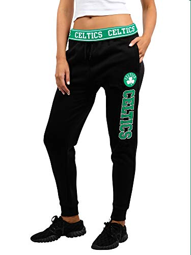 Ultra Game NBA Boston Celtics Womens Jogger Pants Active Basic Fleece Sweatpants , Black, Medium