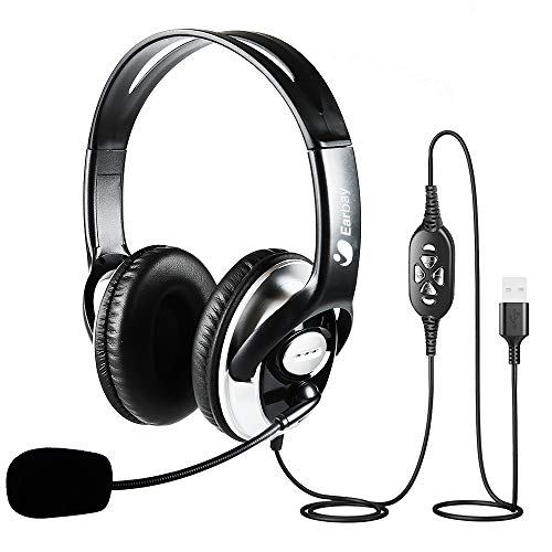 On Ear Headphones Wired USB Headset with Microphone Noise Canceling,Laptop Mac PC Headset for School Office Home Call Center Binaural Headset with Volume Control