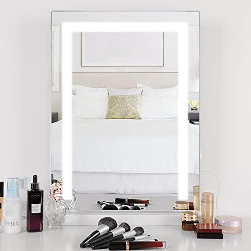 Meidom Schminkspiegel mit Beleuchtung, Touch-Steuerung, hochkant Stil, Tabletop Spiegel mit Dreifarbiges LED-Lichtleiste, Geeignet für Schlafzimmer, Wohnzimmer - Weiß (L 46cm * H 58cm)