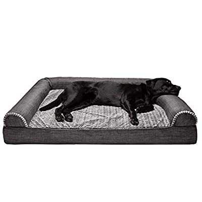 Furhaven Pet Dog Bed - Orthopedic Plush Luxe Faux Fur and Performance Linen Traditional Sofa-Style Living Room Couch Pet Bed with Removable Cover for Dogs and Cats, Charcoal, Jumbo Plus