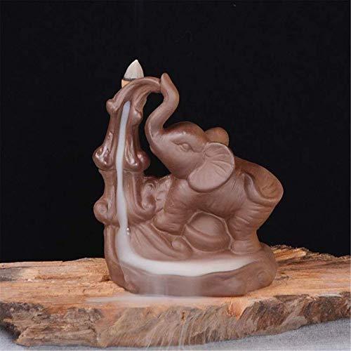 Jenghfnifer Quemador de incienso de reflujo de arcilla morada de reflujo de incienso, quemador de incienso con aroma de elefante, soporte para incensario para el hogar, oficina, decoración de horno