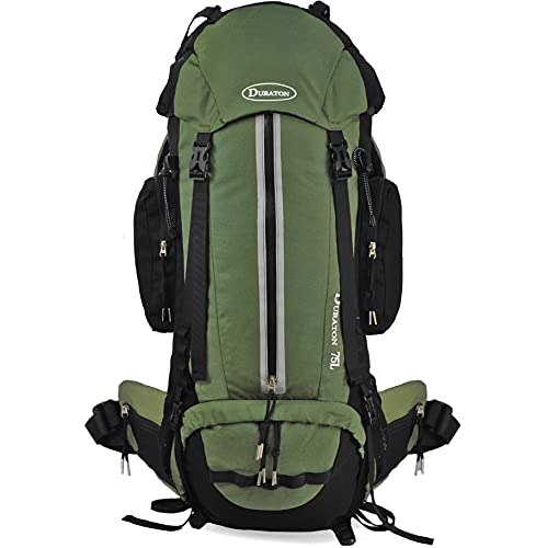 DURATON Hiking Backpack 75L - Internal Frame Pack With Rain Cover for Outdoor Backpacking Fishing Camping and Travel