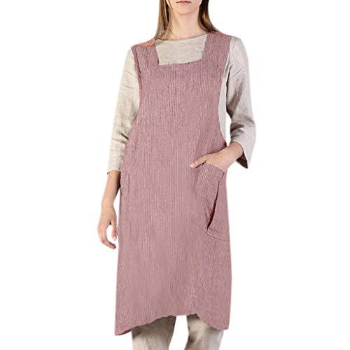 jieGREAT ☘ , Mujeres algodón Lino Raya Delantal Cuadrado Cruz Delantal Vestido de jardín Delantal Vestido