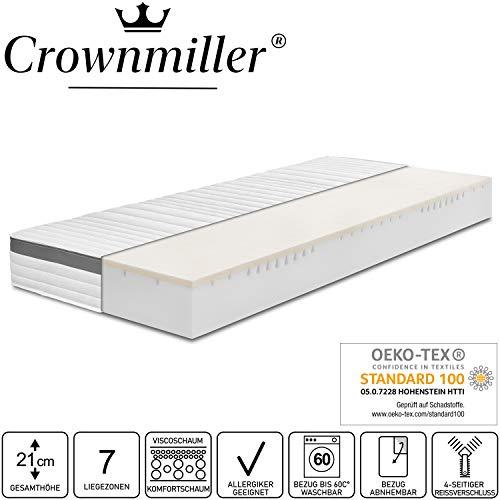 Crownmiller Gold KS - Visco-Komfortschaummatratze 90x200 cm H2, Höhe ca. 21cm, Bezug bei 60°C waschbar, Oeko-TEX® 100