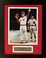 Pete Rose Autographed Cincinnati Reds Signed Framed Baseball 8x10 Photo 4256 Hit COA