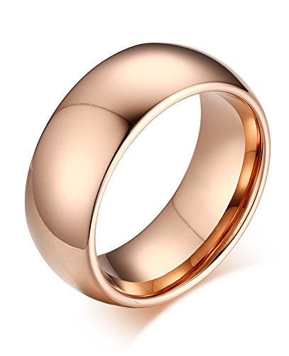 VNOX 8mm Mens Womens Tungsten Carbide Wedding Band Comfort Fit Domed Promise Ring Rose Gold
