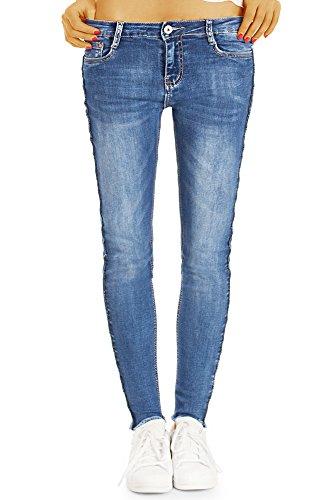 bestyledberlin J85i - Jeans da donna a tubo, stile sportivo, da skinny, lunghezza alla caviglia Blu L