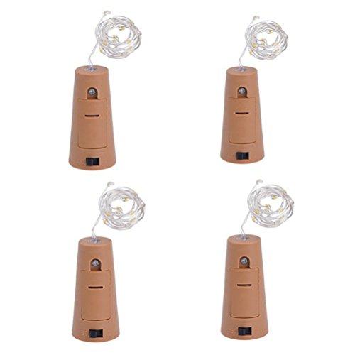 LEDMOMO 4 unids 75 cm 15LED Luz de Botella de Vino Luz de Hadas con Cable para la Decoración de Navidad la Boda (Blanca)