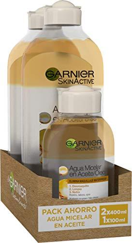 Garnier Skin Active Agua Micelar en Aceite, Elimina el Maquillaje de Larga Duración y Waterproof, Desmaquilla, Limpia y Nutre Labios, Ojos y Rostro, Sin Acabado Graso, Pack 2x400ml +1 x100ml
