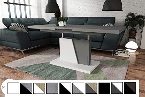 Design Couchtisch Tisch Grand Noir Grau matt/Weiß matt stufenlos höhenverstellbar ausziehbar 120 bis 180cm Esstisch