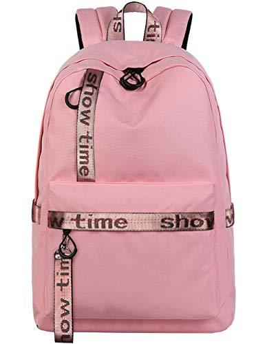 Mygreen Schultasche mit Stickerei Rucksack für Cool Girls Fashion modische Tasche für College Studierende Rucksack Casual Schultasche Daypack für 15.6 Zoll Laptop – Pink