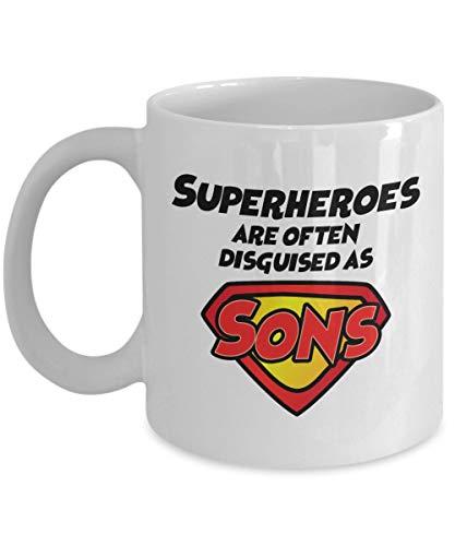 Los superhroes a menudo se disfrazan de hijos Taza de caf, blanca, 11 oz - Regalos nicos por IconicPassion
