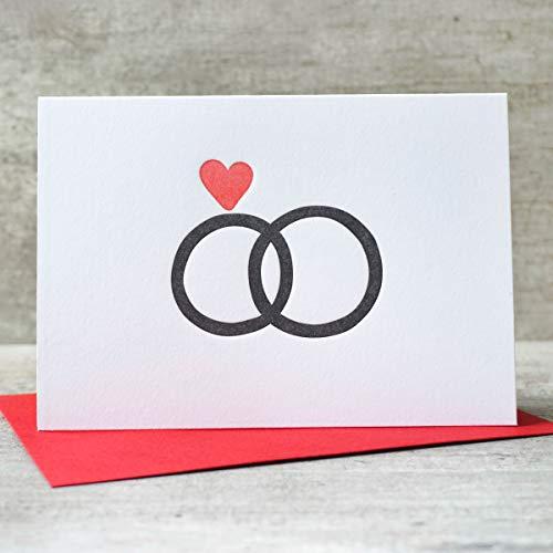 Herzdiamant | Letterpress Klappkarte | Liebe, Verlobung, Hochzeitskarte, Eheringe, Ringe