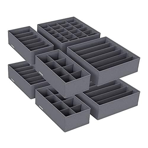 SONGMICS Aufbewahrungsboxen für Unterwäsche, 8er Set, Schubladen-Organizer, Ordnungssystem für Kleiderschrank, für BHS, Unterwäsche, Socken, Krawatten, Faltboxen, Stoffboxen,grau RUS08GY