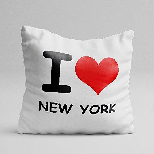 ALLINONE Cuscino Personalizzato in Cotone I Love New York IO Amo LA MIA Citta' I Love My City Idea Regalo