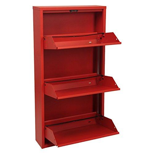 DONREGALOWEB Zapatero de Metal de 3 Filas en Color Rojo