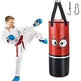 Sacchi da boxe per bambini e ragazzi, sacco, 62 x 20 cm, in pelle PU, a prova di esplosione, per arti marziali, punching, punching Bag, ganci da boxe per allenamento boxe, sacco di sabbia