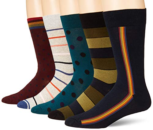 Amazon Brand - Goodthreads Men's 5-Pack Patterned Socks, Stripe Dot Pack, One Size