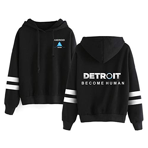 AILIENT Detroit Become Human Pullover Lose Bedruckte Pullover-Pullover atmungsaktive Hoodies gemusterte Sweatshirts Langarm-Pullover (Color : Black02, Size : XXL)