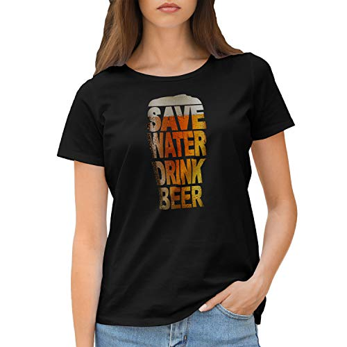 GR8Shop Save Water Drink Beer Bier Camiseta de Mujer Negra Size S