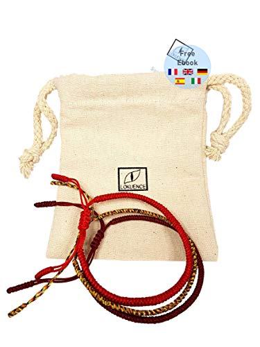 Buddhistisches Armband, Tibetisches Armband, Glücksarmband Damen Herren, Los von 3 Tibetischen Armbändern Glück (rot, mehrfarbig, dunkelrot)+ Ebook angeboten