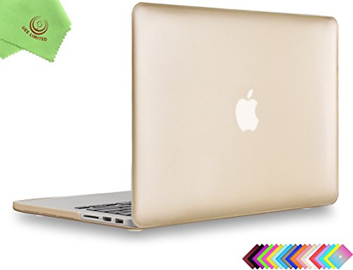 UESWILL Plastic Hard Shell Case for MacBook Pro (Retina, 15-inch, Mid 2012/2013/2014/Mid 2015), Model A1398, No CD-ROM, No Touch Bar, Gold