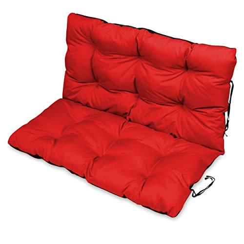 SuperKissen24 Sitzkissen Bankkissen Bankauflage für Gartenbank - 120x50 cm und Rückenlehne 120x60 cm - Outdoor und Indoor - rot