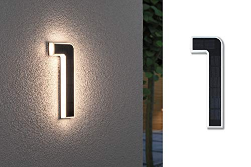 Paulmann 79842 LED Solar Hausnummer 1 IP44 Warmweiß Akku wechselbar incl. 1x0,2 Watt Solarleuchte Schwarz Solarlampe Kunststoff Solarlicht 3000 K