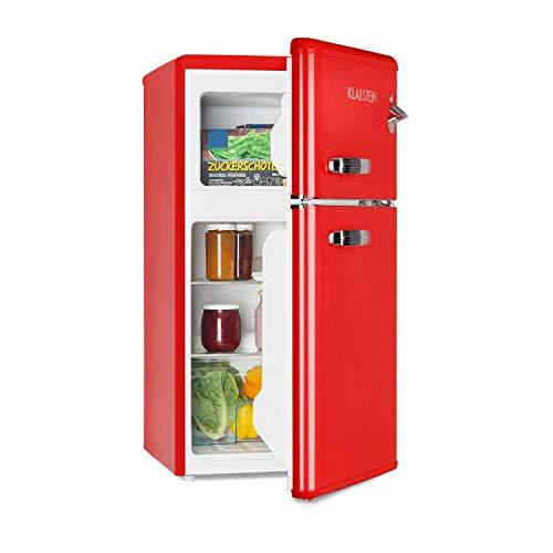 Klarstein Irene - Frigorífico combi, Volumen 61 Litros, Congelador 24 Litros, Refrigeración regulable 0-10 °C, 2 estantes, Cajón para verduras, 2 compartimentos en la puerta, Altura regulable, Rojo