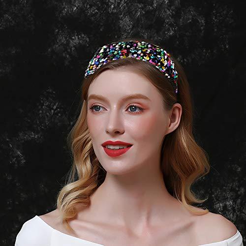 ECANGO 3 Packs Reversible Sequin Headband for Women Girls, Wide Sparkly Velvet Padded Hairbands Elastic Bling Bling Hair Hoops Accessories