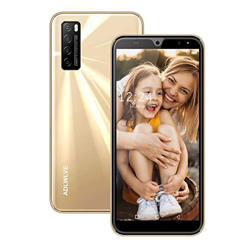 Moviles Libres Baratos 4G,6.0Pulgadas 3GB RAM 32GB ROM / 64GB Smartphone Libre Android 9.0 Face ID teléfonos móviles gratuitos, 8MP 4600mAh,Dual SIM Quad Core Moviles Buenos (Oro)