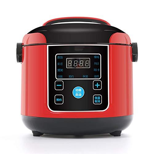 Mini-Reiskocher (2 L / 300 W) Multi-Herd Mit 10 Funktionen Antihaft-Innentopf Timer Und Warmhaltefunktion Reis Für Bis Zu 3 Personen,Rot