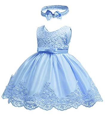 Baby Girls Dress 18 24 Months Sleeveless Easter A Line Dressy Baptism Princess Flower Girls Dress Lace Tutu for Princess Birthday Pageant Party Dress Gift Vestido Custom Headband (All Blue, 24M)