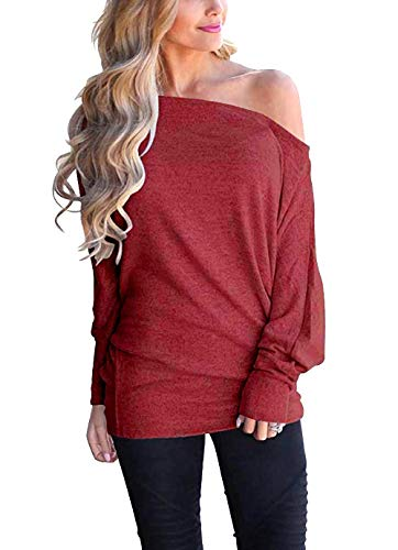 CLOUSPO Damen Oberteile Langarm Schulterfrei Sweatshirts Langarmshirts Casual Tops (Small, Rot)