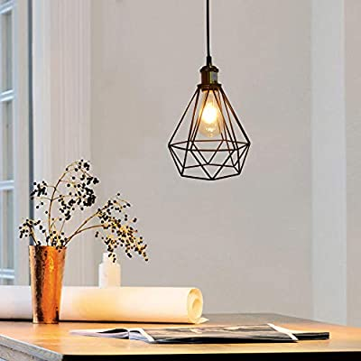 """Industrial Pendant Light Vintage Diamond Metal Cage Ceiling Lighting Fixture with E26 Bronze Lamp Socket 24"""" Adjustable Hanging Cord for Home Office Decoration"""