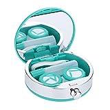 Caja de lentes de contacto,mini titular de Caja de viaje Kit de fácil llevar Espejo Contenedor Lindo Encantador lente de contacto Caja de lentes de cuidado oral linda(Verde)