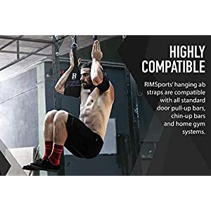 RIMSports Ab Straps for Pull Up Bar Premium Pull Up Straps & Hanging Ab Straps for Core Workouts Ideal Hanging Straps & Ab Hancer for Gym Perfect Abs Workout Equipment