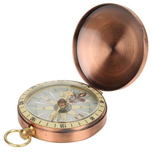 Wosune Bússola para relógio de bolso, corpo de metal polido espelhado banhado a ouro, bússola vintage para brincadeiras ao ar livre para acampamento piquenique para passeios (bússola)