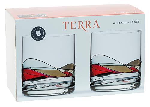 ART ESCUDELLERS 2 Vasos de Whisky de Cristal Artesanales y Pintados a Mano por Artistas Europeos - Colección Terra