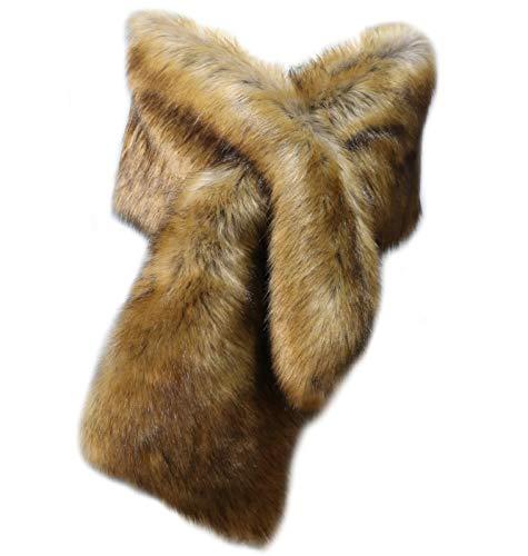 vannawong Bufanda de piel sintética para mujer, para boda, novia, axilas, largo bolero esponjoso, cálido, para invierno, con abertura Zorro Talla única