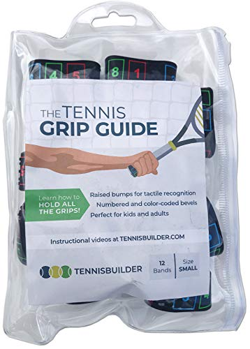 The Tennis Grip Guide by Tennisbuilder | Designed for Adults and Kids Tennis Racket | from Advanced to Beginner Tennis Players Small 12 Pack