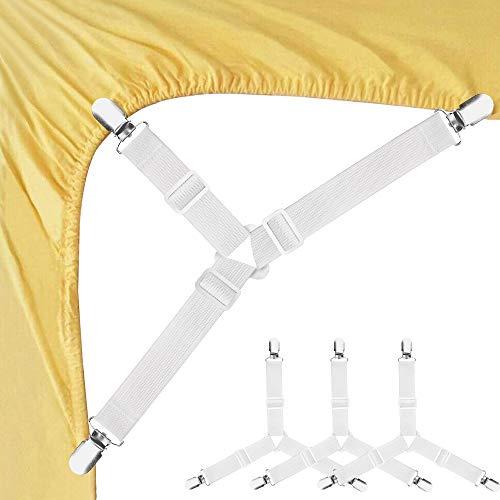 Sujetadores de sábanas triangulares ajustables con correas elásticas para sujetar sábanas de cama, fundas de colchón, cojín de sofá